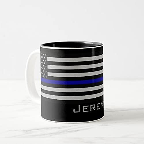 Yilooom Cute Cup Present, Taza de café de dos tonos con nombre personalizado con bandera de línea azul, 11 oz