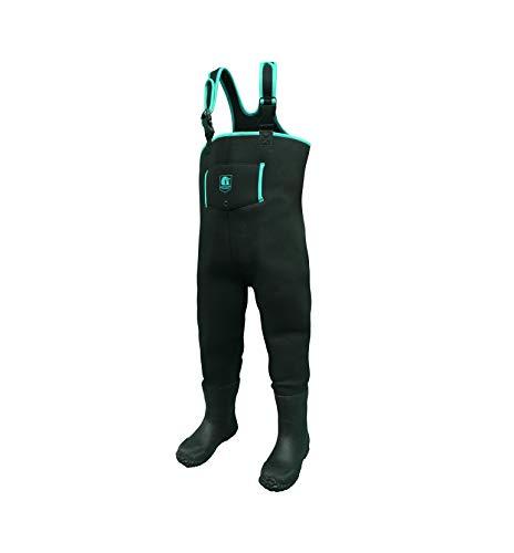 Gator Waders Youth Series Neoprene Waterproof Waders with Boots (Black/Aqua, 3T)