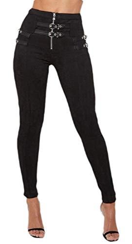 SOWTKSL Damen Wildleder-Hose, hohe Taille, sehr schmale Passform Gr. M, Schwarz