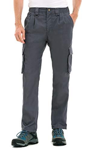 clothin Men's Elastic Waist Cargo Pants Outdoor Tactical Pants with Pockets(Gray,L,34L)