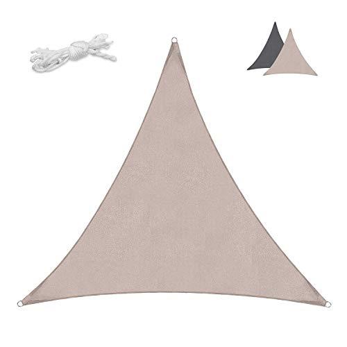 Sekey Sonnensegel Sonnenschutz Dreieck PES Windschutz Wasserabweisend Tear Resistant Wetterschutz 95% Beschattung UV Schutz, für Outdoor Garten Terrasse, mit Seilen, 3×3×3m Taupe