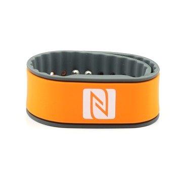 Pulsera de la NFC, Adecuado para los contactos, el Comercio, los Deportes, 924 Bytes (NTAG 216), Resistente al Agua, Naranja/Gris, Ajustables