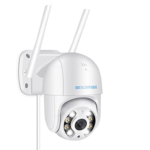 5MP Cámara WiFi Exterior, Camara WiFi Exterior/Interior Motorizada, Camera WiFi Impermeable IP66 con Audio de Dos Vías, Visión Nocturna 50M en Color Detección de Movimiento Monitorización Inteligente
