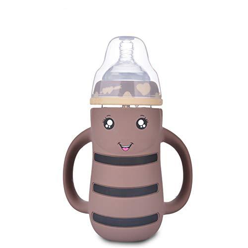 SPAWX Babyflasche Mit Strohstruktur auslaufsicheres Design Muttermilchflasche Baby Tasse geeignet für Kinder 240ml,Brown
