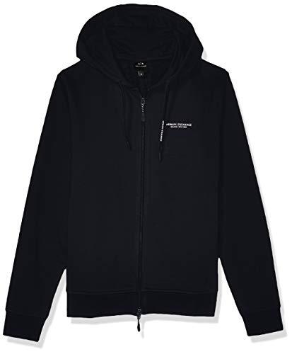 Armani Exchange AX Herren Long Sleeve Zip Up with Hoodie Sweatshirt, Navy, Groß