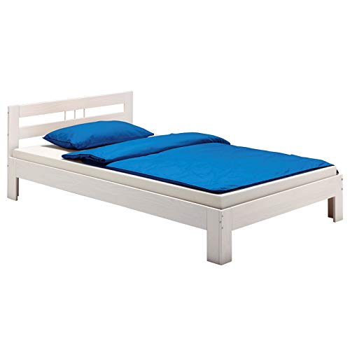 IDIMEX Lit Simple Theo 90 x 190 cm Cadre de lit pour Enfant en pin Massif lasuré Blanc, avec tête de lit