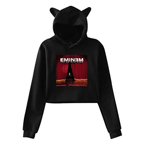 Yaouihur Frauen Katzenohr Hoodie Logo von Eminem The Eminem Show Lumbaler Langarm Hoodie M