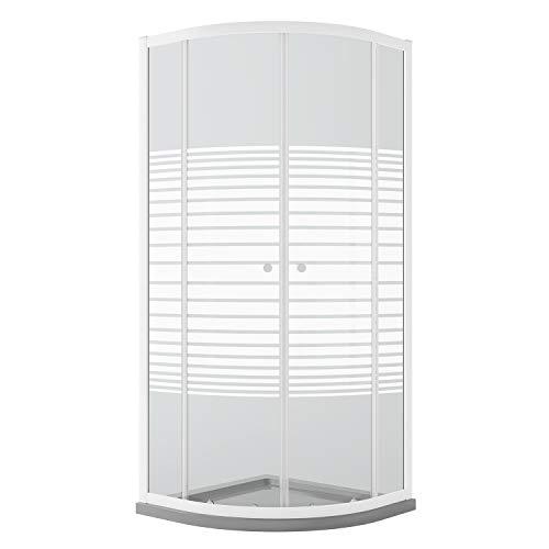 Idralite Viertelkreis Duschkabine Weiß 90x90 cm H185 mit Milchglas Streifen Mod. Blanc