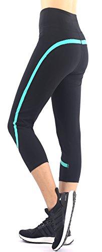 Sugar Pocket Pantalones Capri Negro para Mujer Running Clase de Yoga(Negro,S)