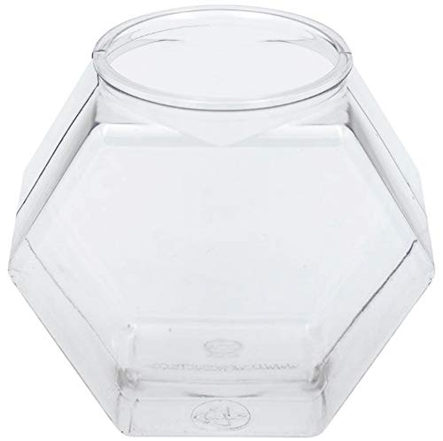 Hexagon - 30 oz Clear Food-Grade Recyclable Plastic BPA FREE (54/CASE) with Snap on Natural Color Lid - $2.31 per container
