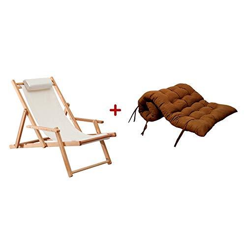 ChangDe-- Vier Jahreszeiten universal Haushalt klappstuhl Outdoor tragbaren massivholzstuhl strandkorb liegestuhl faul Lounge Stuhl mit armlehnen, 2 Farben (Color : Brown)