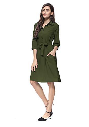 EFOFEI Damen Work Dress Knielanges Kleid Formelles Midikleid Armeegrün M