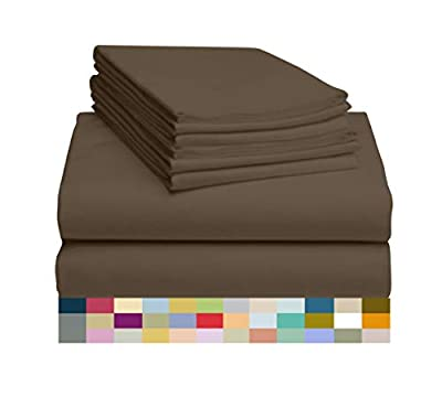 "LuxClub 6 PC Sheet Set Bamboo Sheets Deep Pockets 18"" Eco Friendly Wrinkle Free Sheets Hypoallergenic Anti-Bacteria Machine Washable Hotel Bedding Silky Soft - Tree Bark Queen"