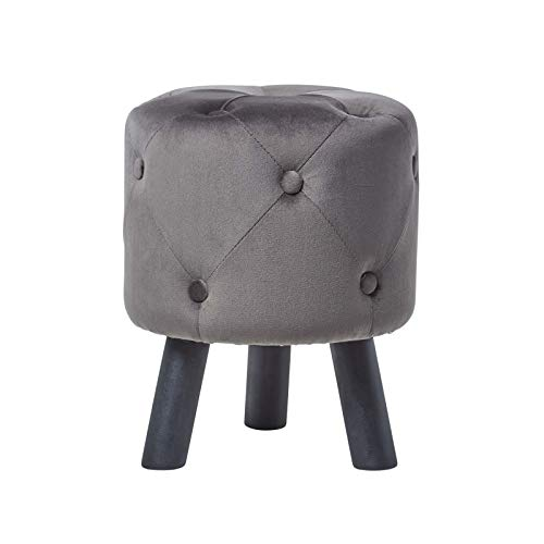 Homescapes Samt Sitzhocker mit Holzbeinen, gesteppter Pouf im Barock Design, runder Polsterhocker...