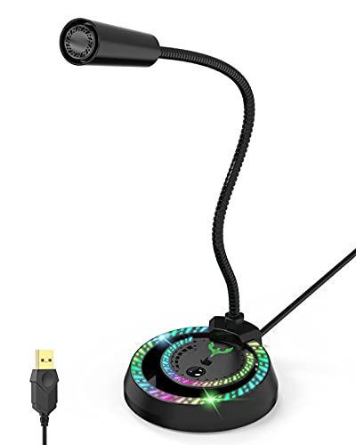 Blade Hawks USB Micrófono, micrófono para Juegos de PC con Ajuste de Volumen, micrófono de Condensador omnidireccional RGB con función de reducción de Ruido, Compatible con PC, portátiles Mac, etc