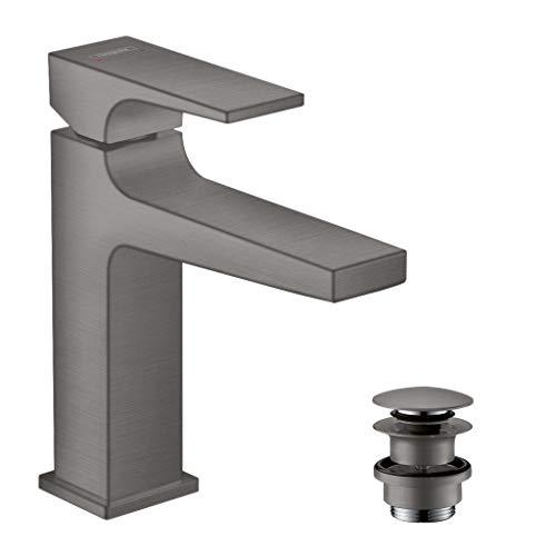 hansgrohe Grifo Metropol de ahorro de agua con cómoda altura de 110 mm con desagüe push-abierto, cromo cepillado negro