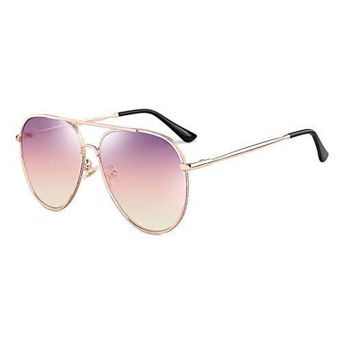 BLOUR Gafas de Sol de Doble Haz de Metal Pegatina Anillo Alambre Tecnología Tendencia Moda Material plástico Lentes 6346 Gafas de protección UV400