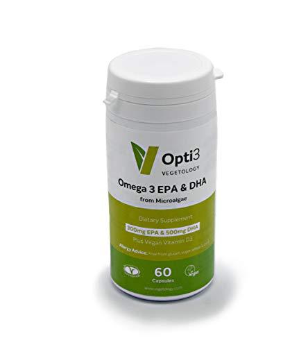 Opti3 omega3 da alghe vegetali, 300mg EPA, 500mg DHA e 200 UI di Vitamina D3, 60 cps, senza retrogusto