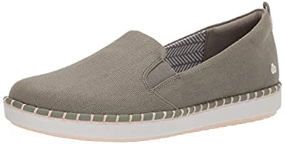 Clarks Women's Step Glow Slip Loafer Flat, Dusty Olive Canvas, 075 M US