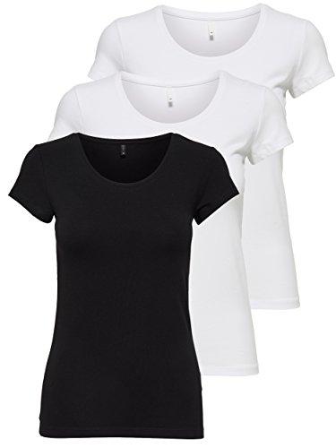 ONLY 3er Pack Damen T-Shirt schwarz oder weiß Kurzarm lang Basic Sommer T-Shirts XS S M L XL 15209153 (Farb Mix 2, M)