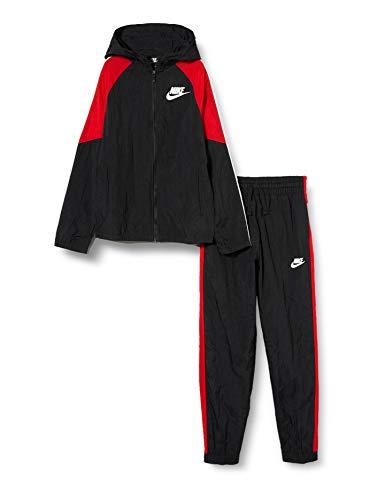 Nike Jungen Sportswear Trainingsanzug, Black/University Red/White/White, XL