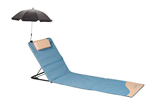 Meerweh Strandmatte XXL mit Lehne & Schirm Strandliege Isomatte Picknickdecke ca. 200x60cm Sonnenliege, beige/blau, 200 x 60 x 68 cm