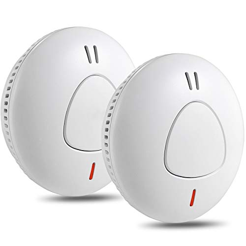 Semoss 2 Pezzi Rilevatori di fumo Batteria di 10 Anni Sensori Antincendio Autonomo Intelligente Allarme Antincendio,Certificato TÜV EN 14604,Pulsante Reset e Anti Insetti Rete,85dB Suono