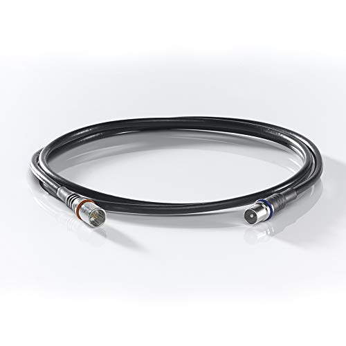 WISI Modem-Anschlusskabel DS 39 U 0500 mit F-Quick/IEC-Stecker – 3-fach geschirmt, Klasse A++, >105dB – Für DVB-T, DVB-T2, DVB-C, DVB-S & DVB-S2 – Ø 5mm, 5m, schwarz