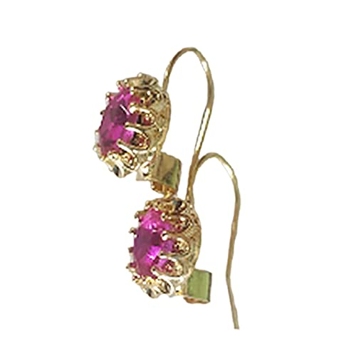 topsjleu Orecchini da donna, 1 paio di orecchini da piercing alla moda, ovali con finto diamante intarsiato, con gancio, per la vita quotidiana, colore: rosso, lega, finto diamante,