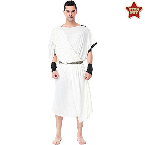 COSOER Griechische Göttin Cosplay Kostüm Arabische Mittelalterliche Römische Paar Weißes Kleid Für Halloween,Male-XL