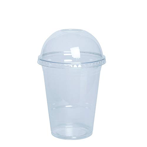 [50 Sets - 16 oz.] Plastic Cups With Dome Lids