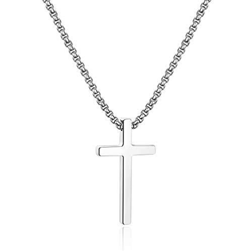 Ursteel Kids Cross Necklace Boys, Mens Cross Necklaces Stain Steel Small Steel Cross Pendant Silver Cross Chain for Men 16 Inch