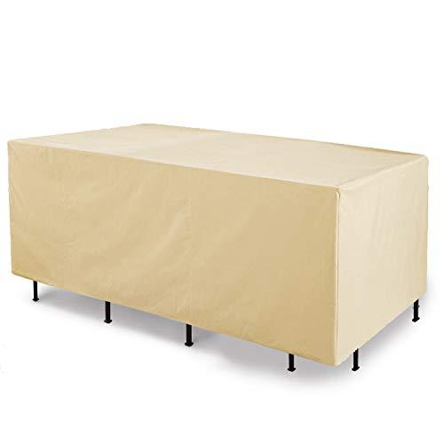 Grand patio Funda para Muebles de Jardín Exterior, Impermeable, Resistente al Polvo, Anti-UV, Protectora Funda para Muebles de Jardín, Mesas y Sillas, Bancos, Rectangular, 250×120×85cm (Beige)