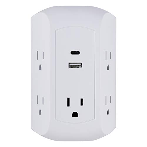 15W USB-C Sur Protector Outlet Adapter, 5 Outlet Wall Tap, for iPhone 11/Pro/Max/XS/XR/X/8, iPad Pro/Air/Mini, Samsung Galaxy, Google Pixel, 17W USB-C & USB Total Power, White - GE 43650