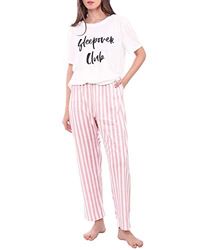 Diarylook Niedlicher Damen-Pyjama-Set, bedruckt, zweiteiliger Schlafanzug für Frauen, Nachtwäsche, weiches Pyjama-Set, Nachtwäsche, XS-XXL Gr. 48, pink gestreift