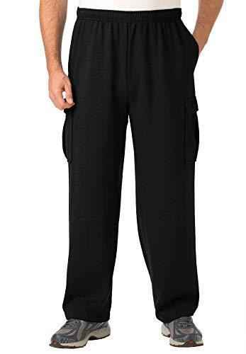 KingSize Men's Big & Tall Fleece Cargo Sweatpants - Big - 2XL, Black