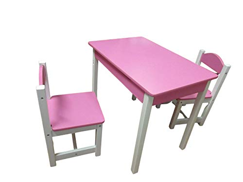 SUPER7 Kids Nursery Wooden PlaySuper toys Table and Chairs Set With Lift-Top Storage Nursery Sets Indoor Use Unisex (Pink and white)