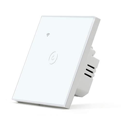 BSEED Interruptor de Pared WIFI,Interruptor Inteligente 1 Gang 1 Vía Compatible con Alexa, Google Home, Control de APP y Función de Temporizador,Blanco Pantalla Táctil【Se necesita Neutro】