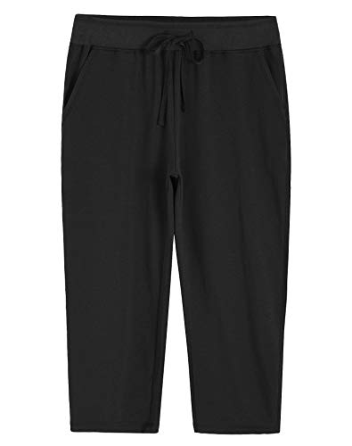 Weintee Women's Knit Sweatpants Capri Pants with Pockets M Black