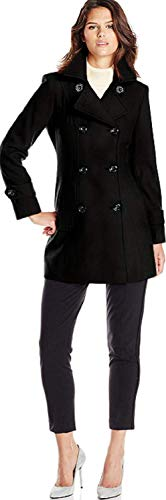 Anne Klein Women's Classic Double-Breasted Coat, Black, LG