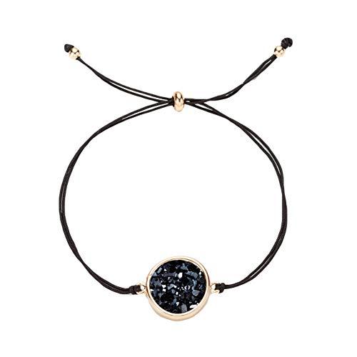 tailor13me Mode Armband, Glitzernde Runde Faux Druse Bead Design Kette Armband Armreif Schmuck Weihnachten Geburtstagsgeschenk Für Frauen Mädchen Schwarz