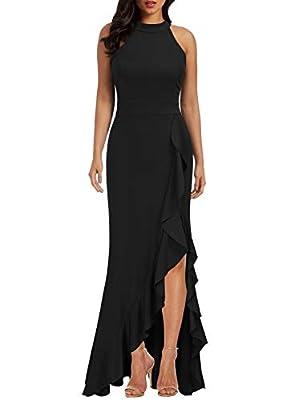 WOOSEA Women's High Neck Split Bodycon Mermaid Evening Cocktail Long Dress Black