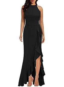 WOOSEA Women s High Neck Split Bodycon Mermaid Evening Cocktail Long Dress Black