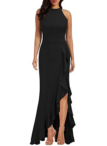 WOOSEA Women's High Neck Split Bodycon Mermaid Evening Cocktail Long Dress Black