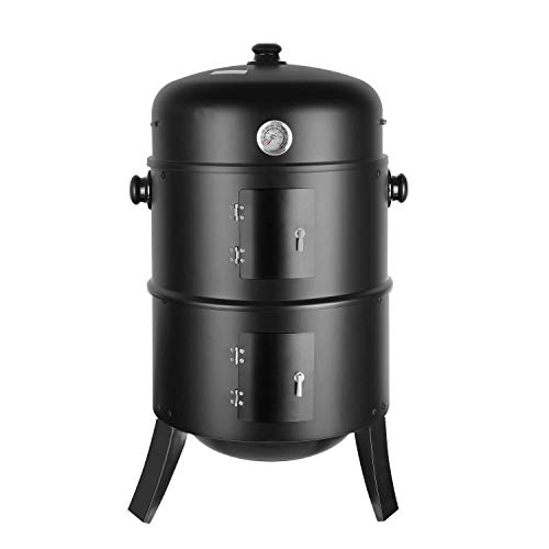 femor 3-in-1 Charcoal Smoker grill, BBQ stove with thermometer hook adjustable air vent, 3 grates and 2 doors, large capacity, for smoking, outdoor grilling and cooking, 80 x 44.5 x 44.5 cm 16 inches