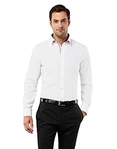 Vincenzo Boretti Herren-Hemd bügelfrei 100% Baumwolle Slim-fit tailliert Uni-Farben - Männer lang-arm Hemden für Anzug Krawatte Business Hochzeit Freizeit weiß 41-42