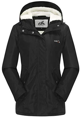 svacuam Women's Winter Jacket Ski Jacket Waterproof Snowboarding Coats with Warm Fleece Inner Windproof Hooded(Black,M)