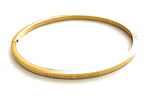 Lolo & Yaya - Pulsera de acero, diseño con texto en inglés 'Marraine Adoree', color dorado