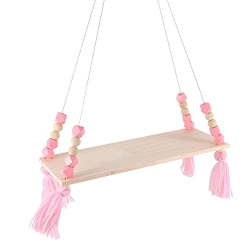 Bzocio Estante de pared de napa colgante de madera para niños con marco de niño de estilo nórdico rosa