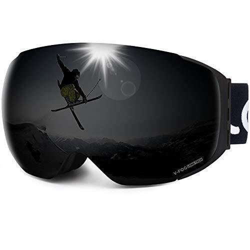 LEMEGO Gafas de Esquí, Gafas de Snowboard Sin Marco magnético Intercambiable 100% UV400 Protección Doble Capa Lente Correa Antideslizante Casco Compatible para Hombres y Mujeres Jóvenes (Negro)